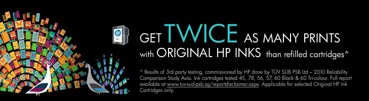Get twice as many prints with original HP Inks than refilled cartridges