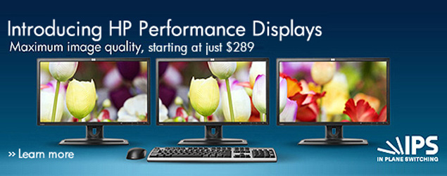 Introducing HP Performance Displays. Maximum image quality, starting at just $289